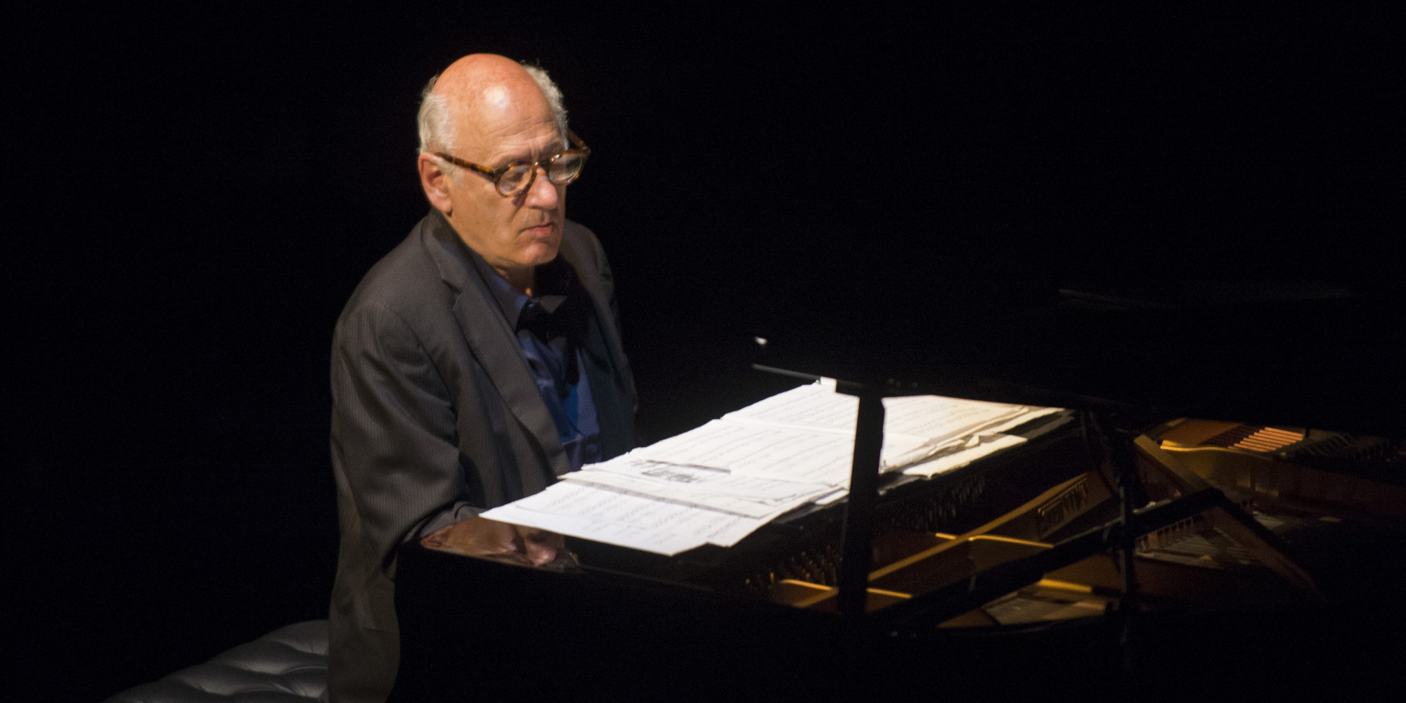 BARCELONA, SPAIN - MARCH 13: Michael Nyman performs on stage at Barts on March 13, 2014 in Barcelona, Spain. (Photo by Jordi Vidal/Redferns via Getty Images)